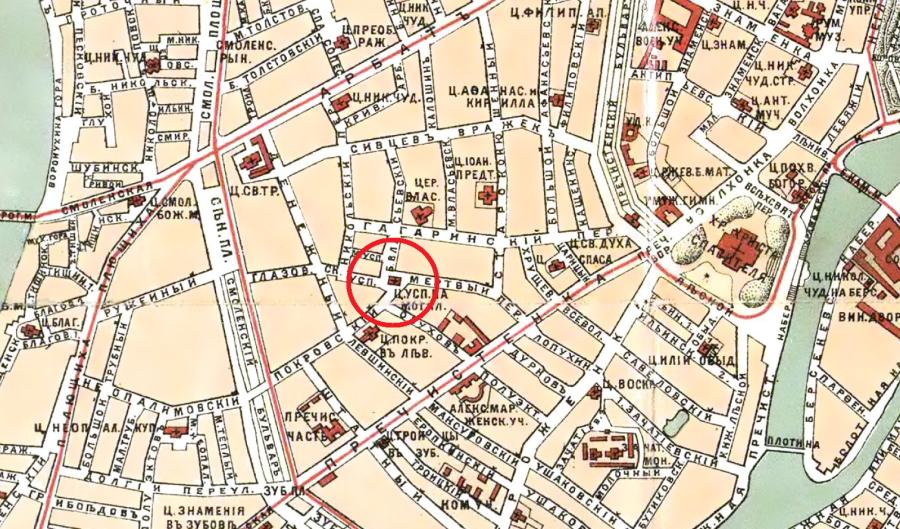 Карта Ильина - 1901 - фрагмент - Церковь Успения на Могильцах