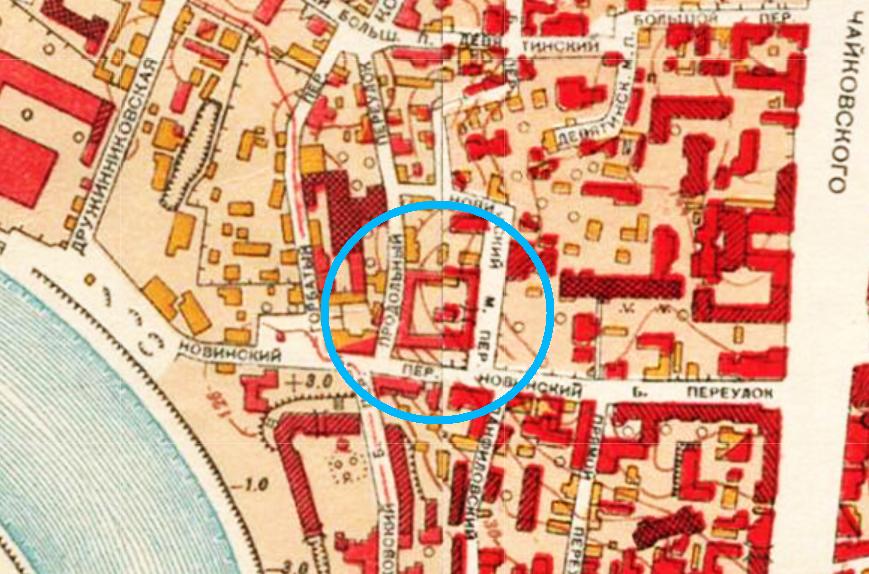 Новинская тюрьма на карте Москвы 1952 года