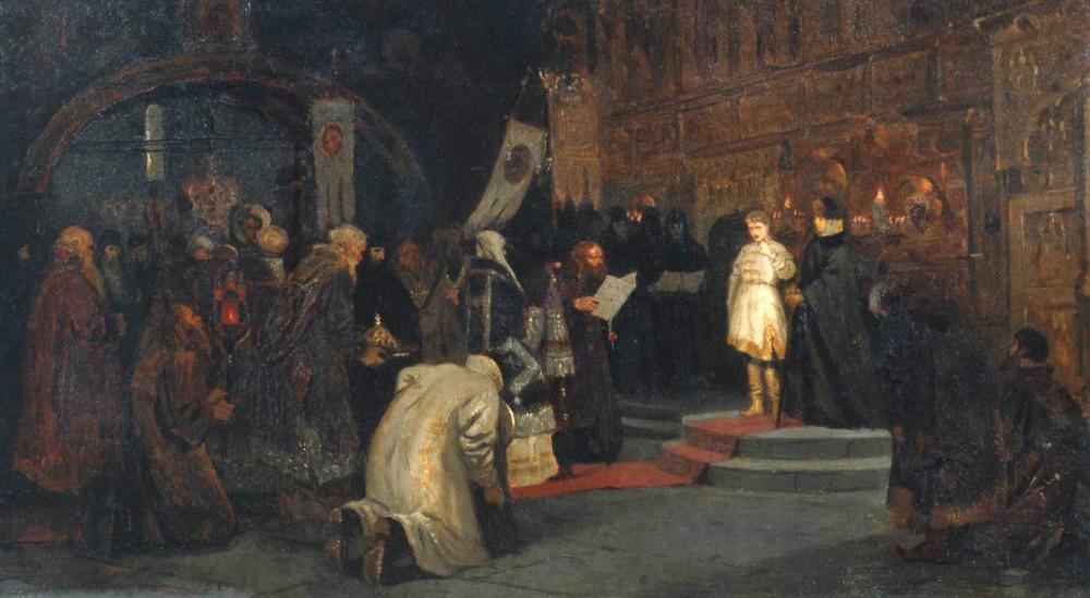 Призвание Михаила Федоровича на царство. М. В. Нестеров. 1885 г.jpg