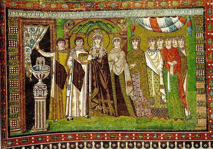 Двор императрицы Феодоры. Фрагмент мозаики в базилике Сан-Витале, Равенна, VI век