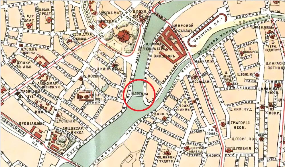 Бабьегородская плотина на карте Ильина 1890 года