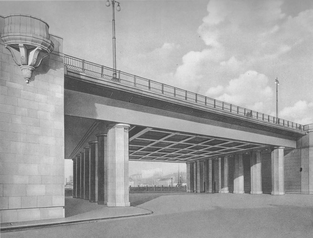 Проект Большого Краснохолмского моста - 1950. Проезд на набережной.