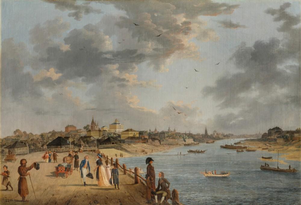 Делабарт - вид Яузского моста и дома Шапкина в Москве. 1797 год.