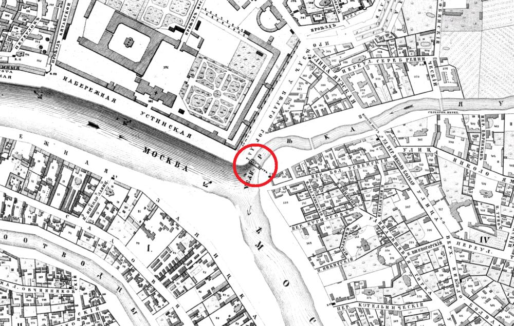 Хотевский план Москвы - Яузский мост - 1852 год