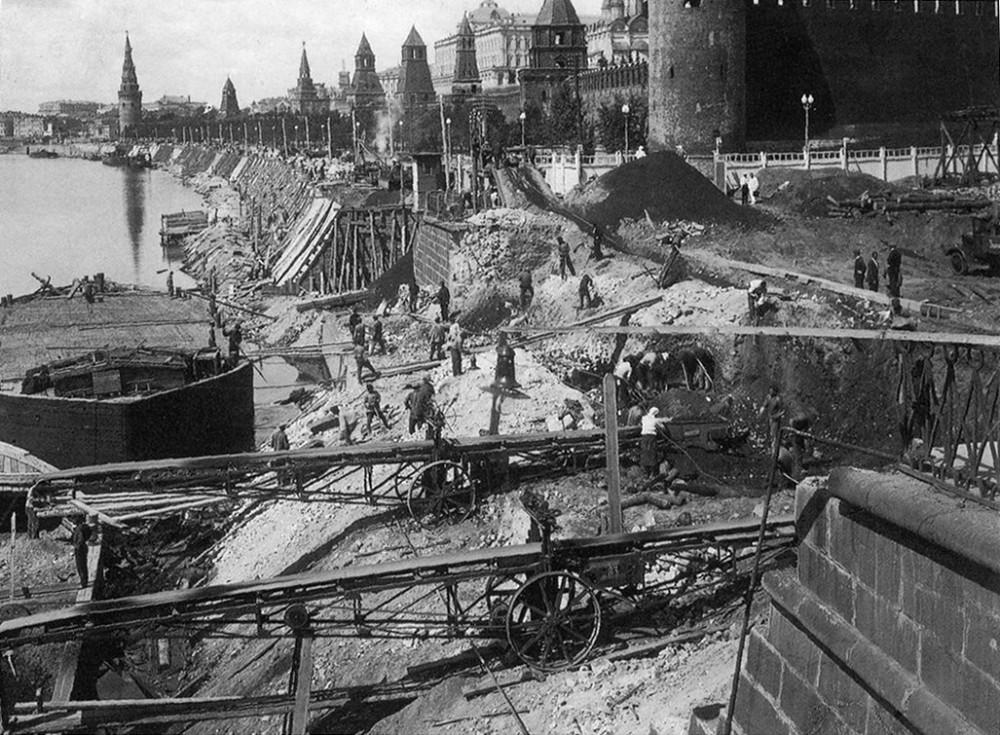 Строительство Большого Москворецкого моста - 1937 год