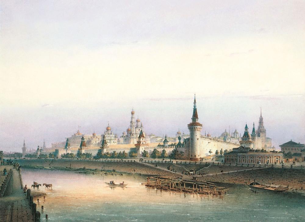 Вид Кремля с Замоскворецкой набережной. 1852 год.