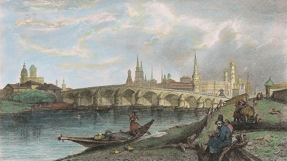 Москва, вид на Каменный мост, гравюра - Жан-Мари Шопен. 1838 год.