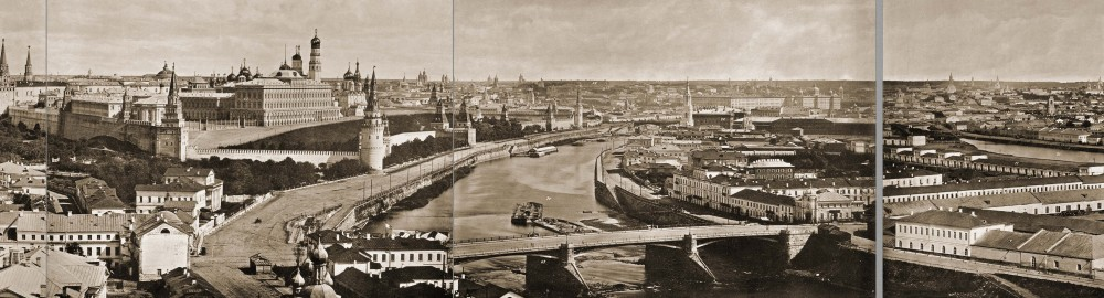 Панорама Москвы - вид с о смотровой площадки ХХС. 1867 год.