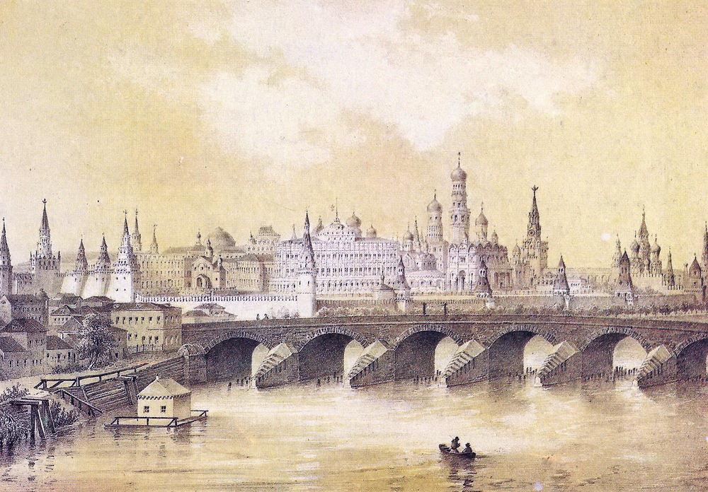 Вид Кремля. Литография из издания И.Х. Дациаро - 1849-1859 годы.