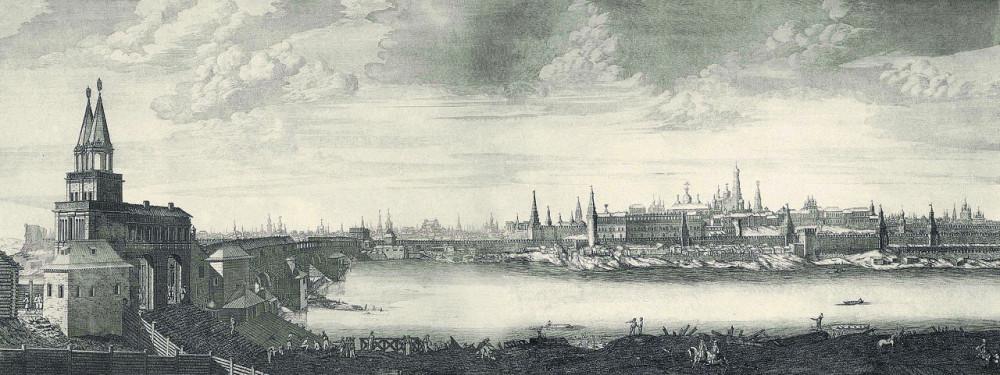 Вид Москвы от Каменного моста. 1707-1708 годы.