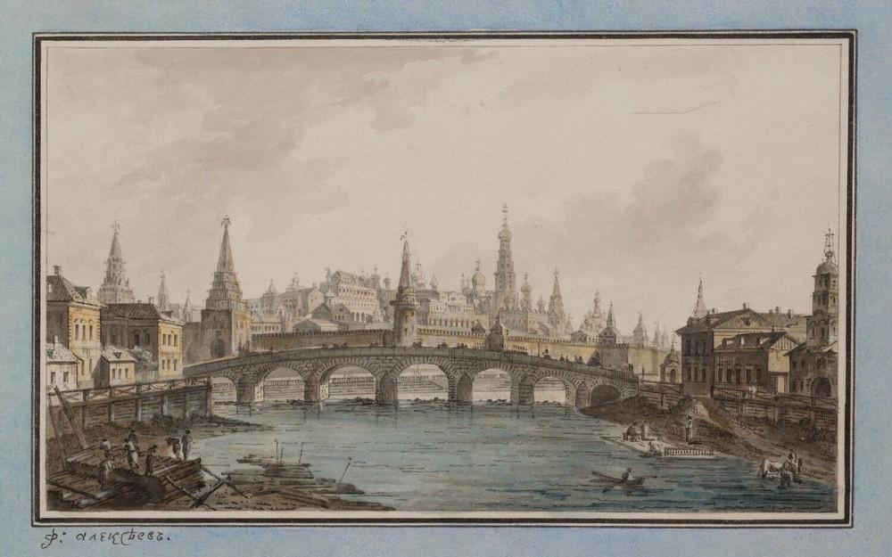 Вид на Кремль из-за Каменного моста - 1800-1810  годы.