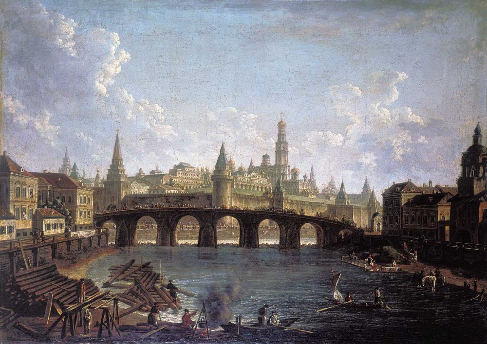 Вид на Кремль со стороны Каменного моста. Художник Ф. Алексеев. Ок. 1753 года.