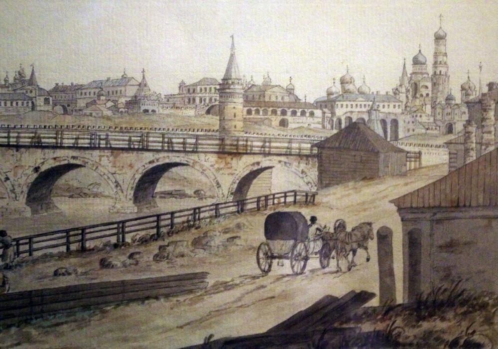 Джозеф Хирн. Вид Кремля из-за Каменного моста от Берсеневской набережной. Начало 1790-х годов - фрагмент