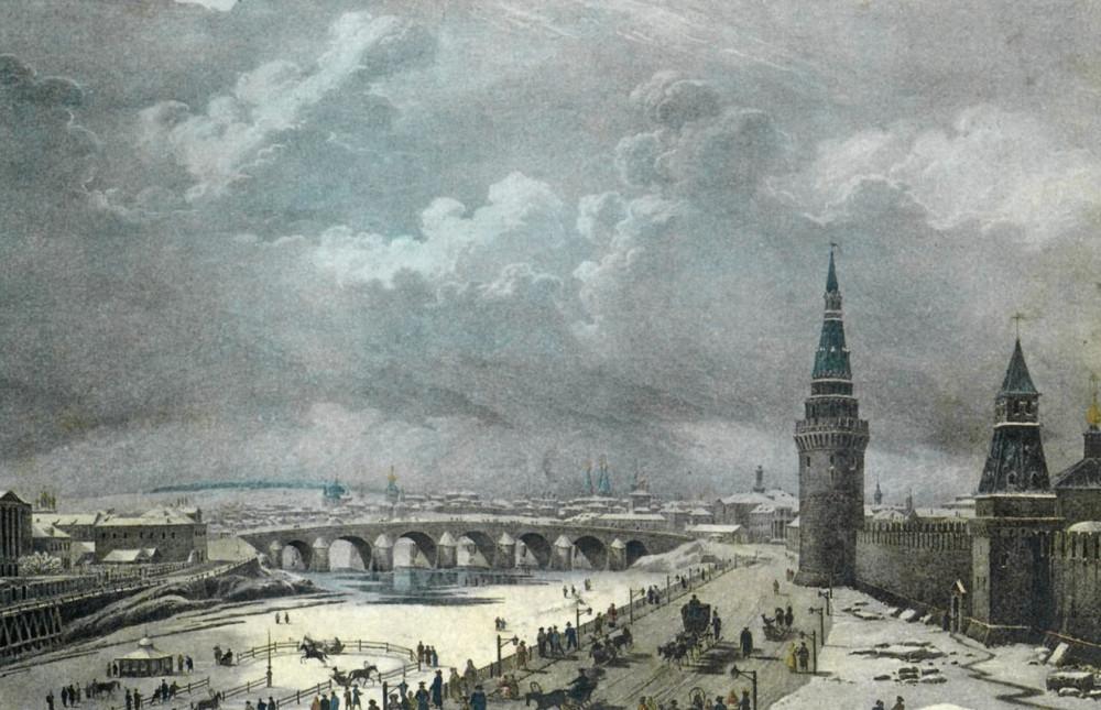 1823 - Вид Каменного моста от Кремля. Josef Andreas Weiß. 1814–1887 годы.).