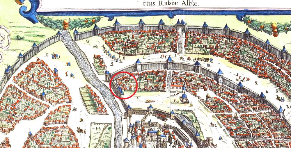 Церковь Похвалы Богородицы на Сигизмундовом плане Москвы 1610 года