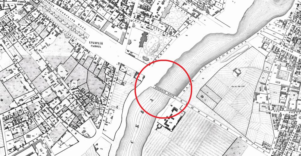 Крымский мост на Хотевском плане Москвы 1852 года