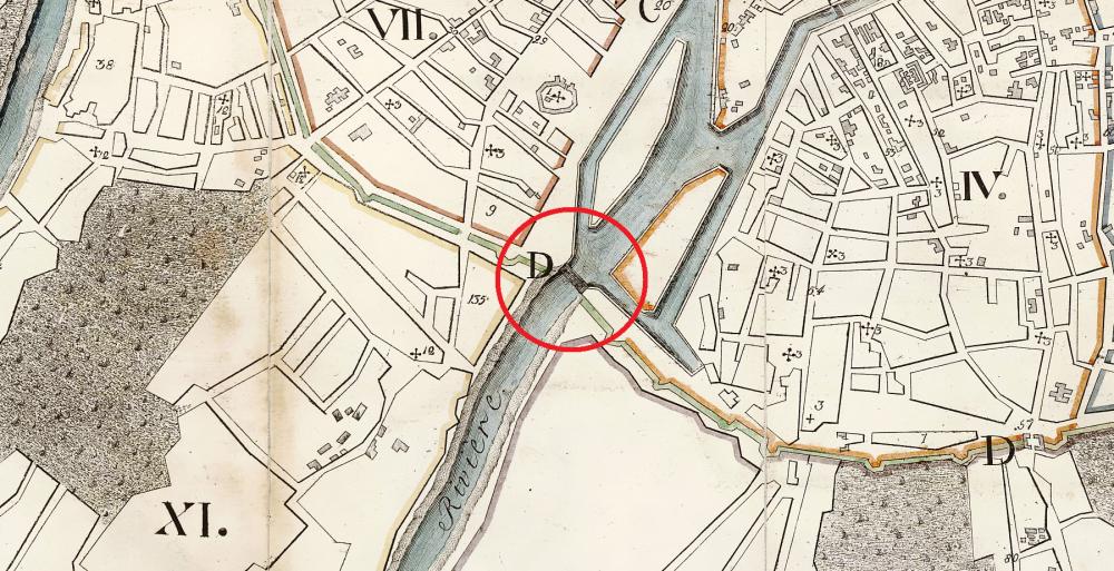 Наплавной мост на Плане Москвы Крутенера 1805 года