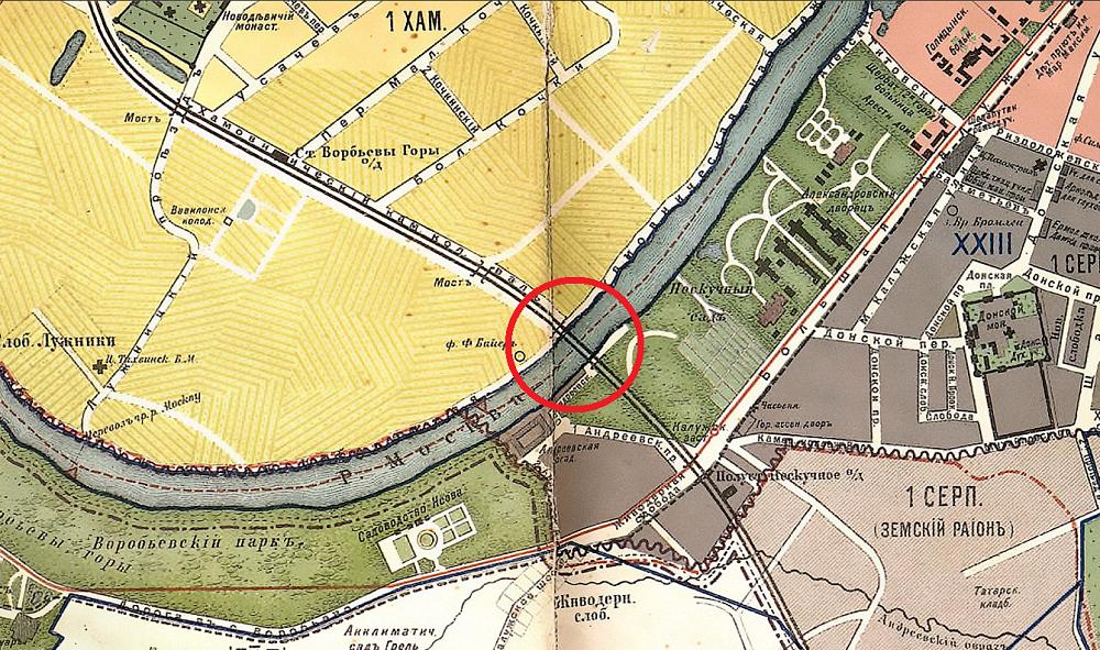 02. Старый Андреевский мост на карте Москвы Суворина. 1911 год.