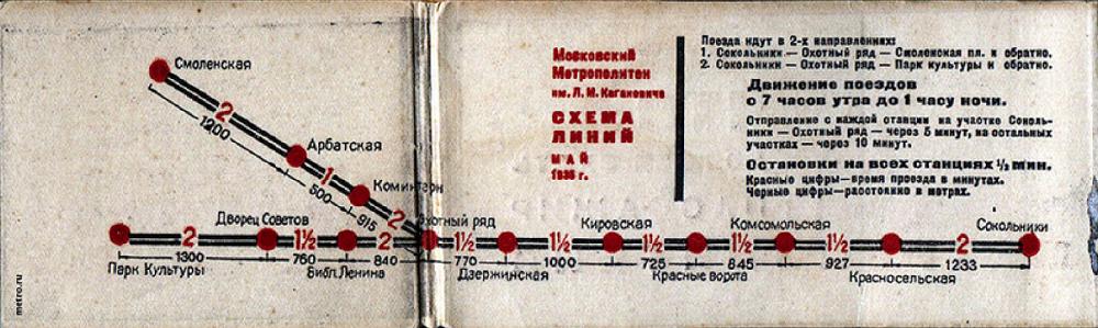 03. Более подробная схема Московского метрополитена. 1935 год. Как мы видим, черным цветом выделены расстояния между станциями, а красным - время проезда между ними в минутах.