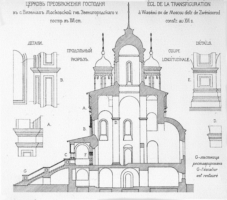 Разрез Преображенской церкви - вид с южной стороны