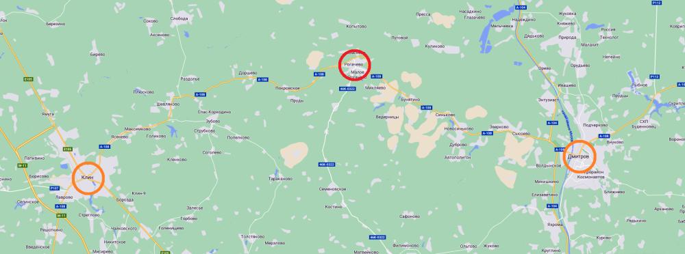 02. Карта с наглядным расположением села Рогачево, Клина и Дмитрова