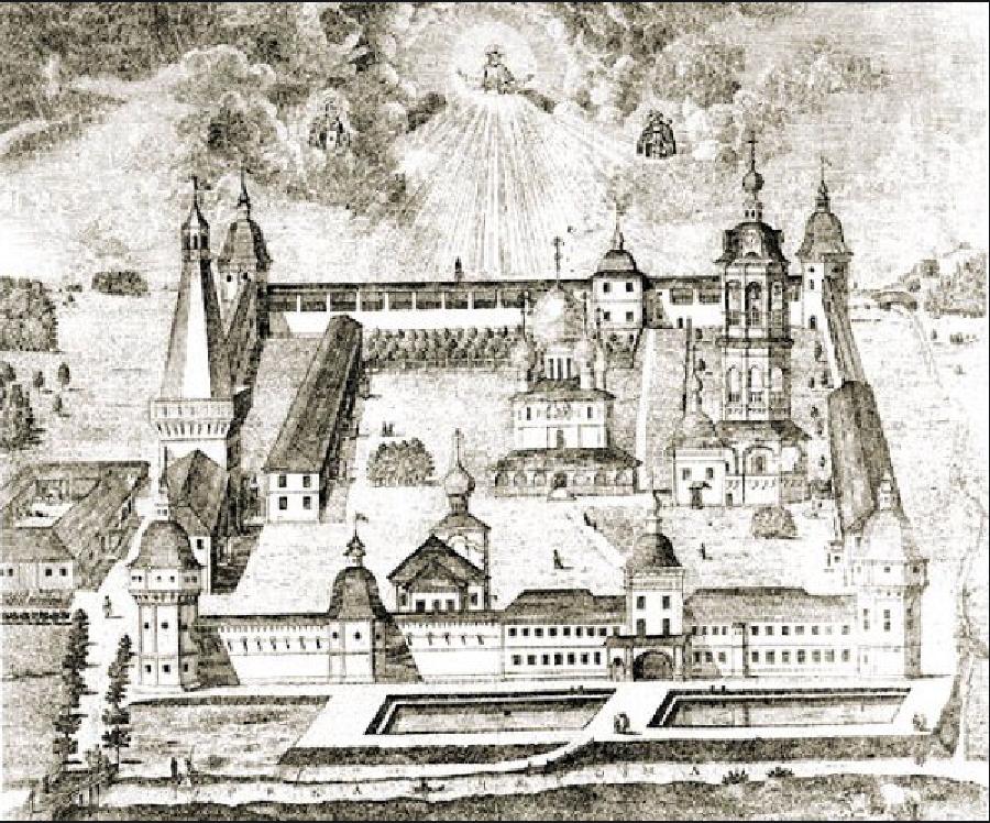 07. Николо-Пешношский монастырь. Старинная гравюра XVIII век.