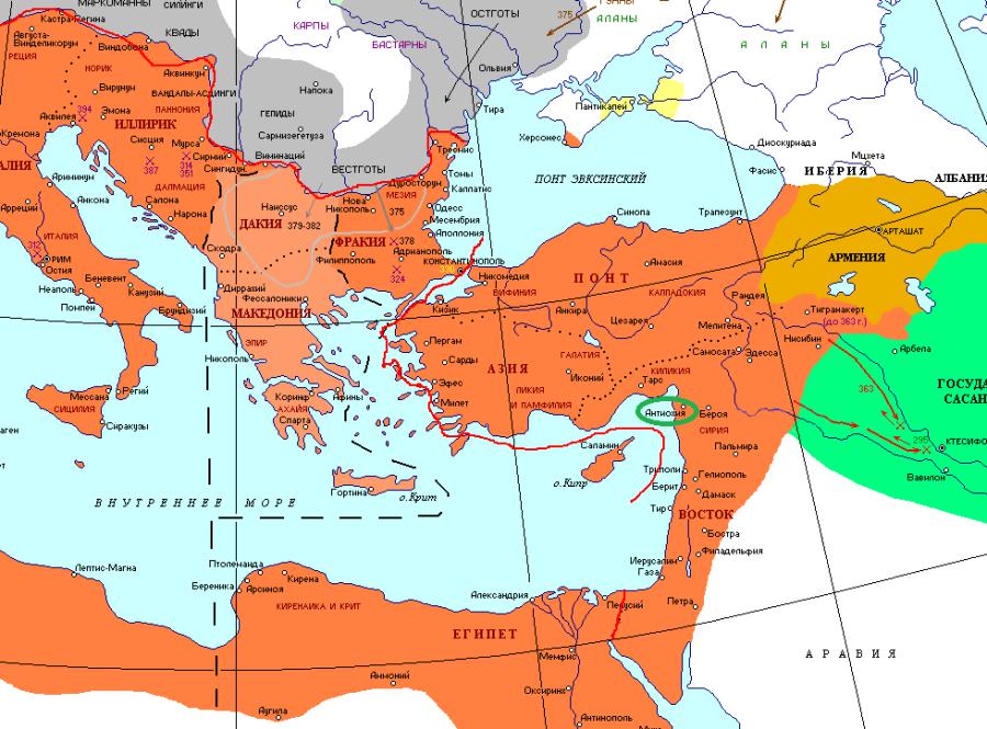 Антиохия на карте