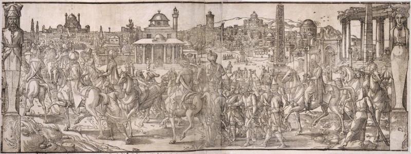 Султан Сулейман I проезжает через руины ипподрома. Гравюра 1533 года.