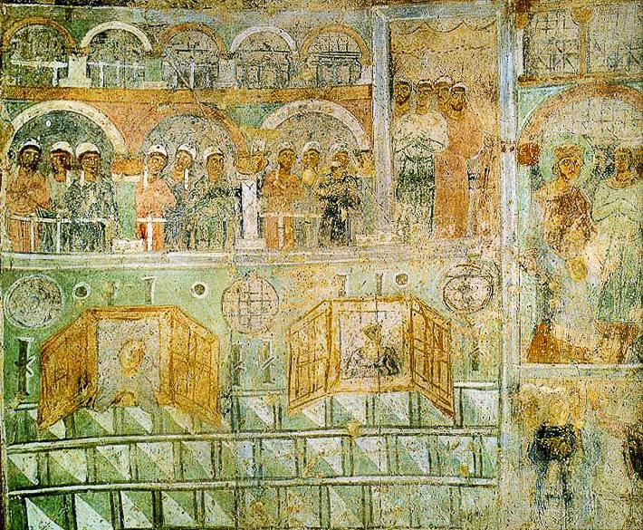 Фреска собора Св. Софии в Киеве, изображающая кафисму константинопольского ипподрома