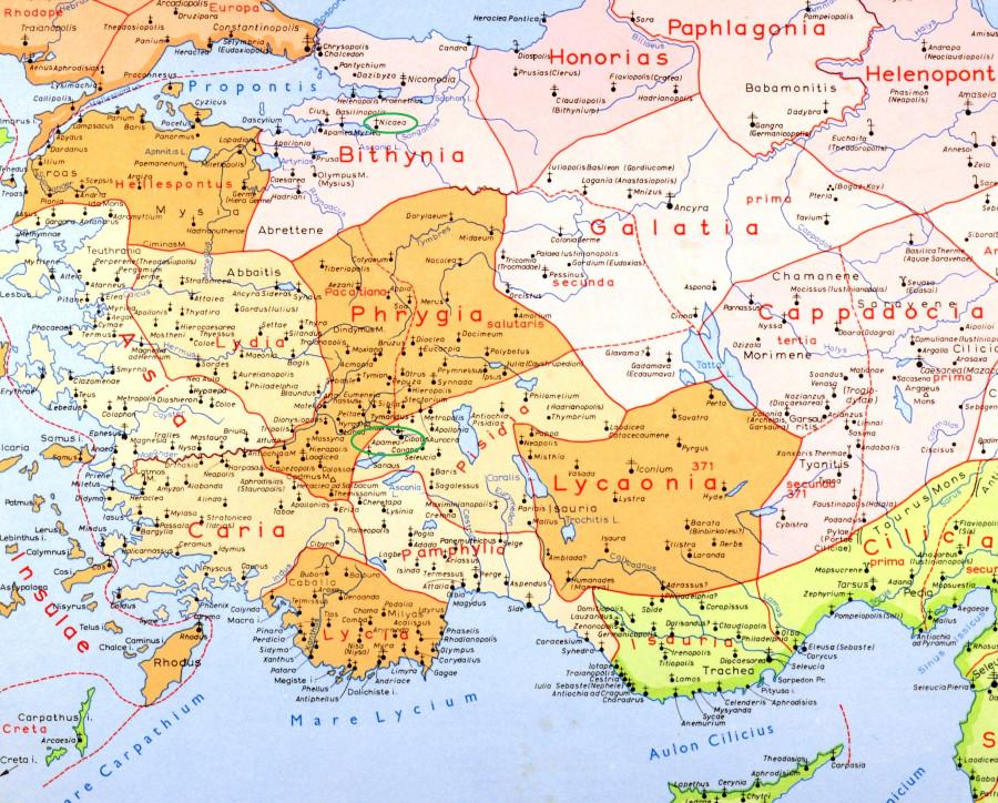 Карта Апамеи на Меандре и Никеи