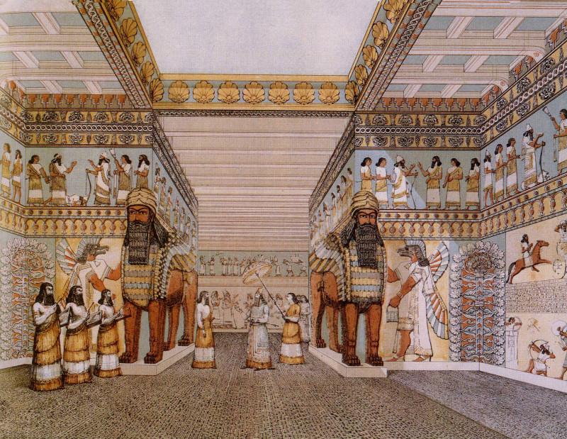 Тронный зал дворца Ашшурназирпала II в Нимруде (Калахе).