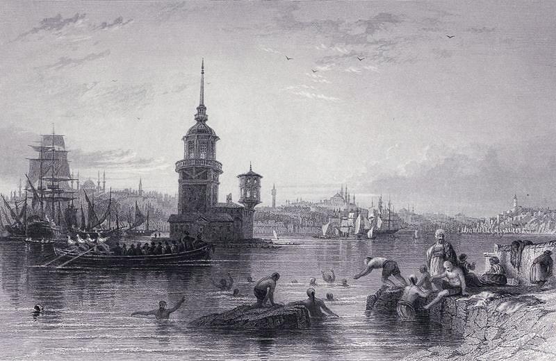 Девичья башня в XVIII веке, гравюра