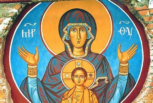 Икона Знамение - византийская фреска