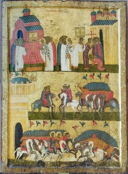 Икона - битва Новгородцев с войском Андрея Боголюбского