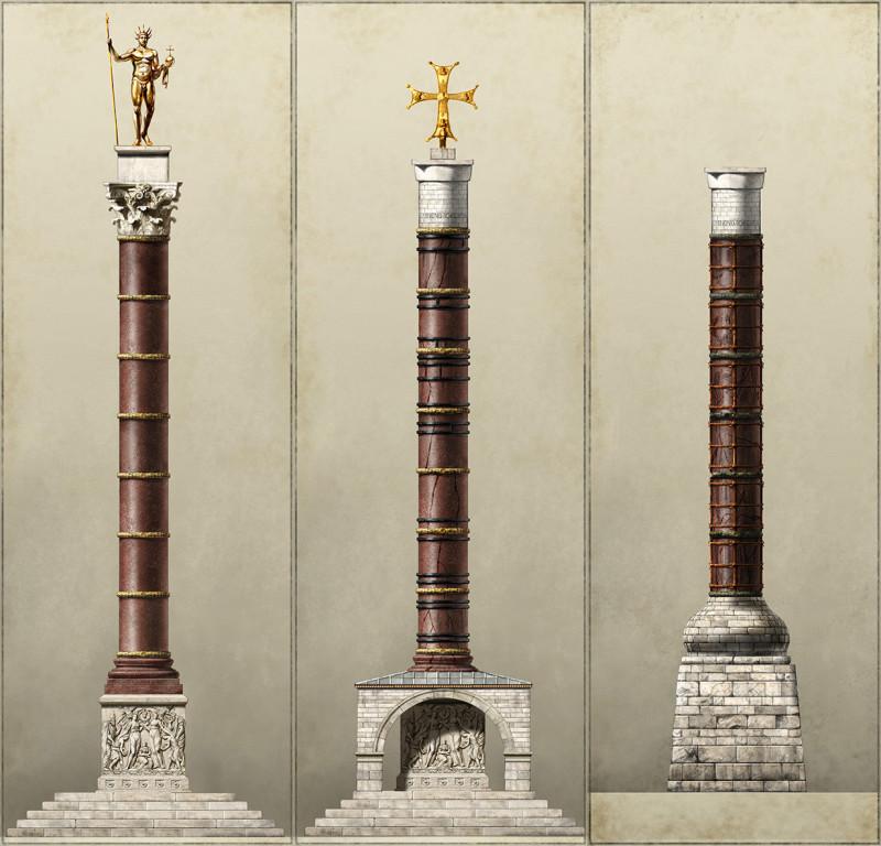 Колонна Константина в разные периоды истории Константинополя