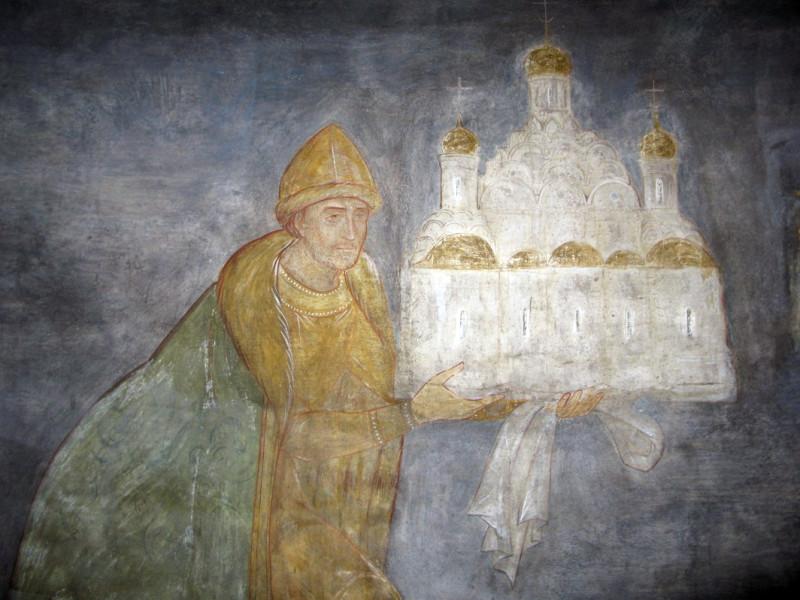 Борис Годунов склоняется пред престолом Царицы Небесной, посвящая храм Святой Троице