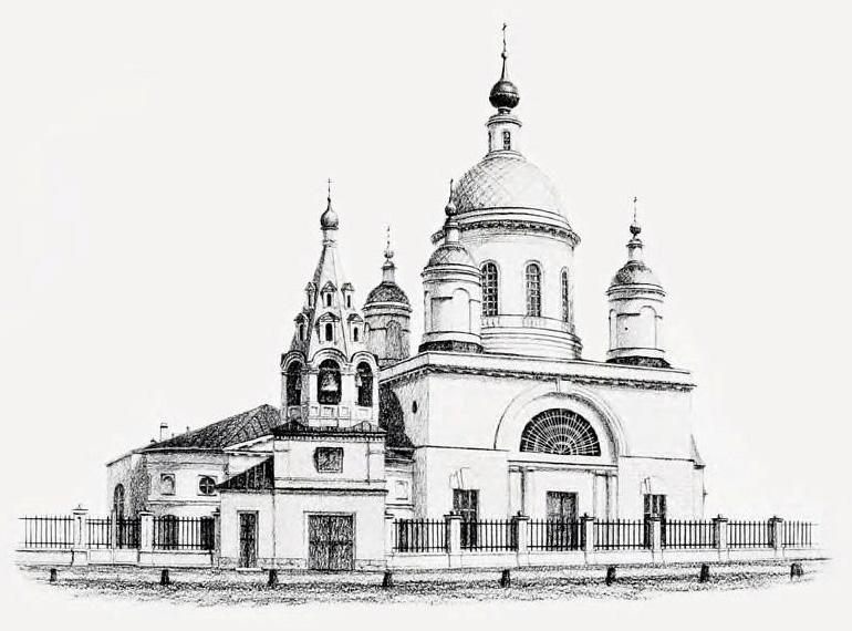Храм преподобного Сергия Радонежского (Троицы Живоначальной) в Рогожской слободе, что в Гонной. Рисунок 1840-х годов.