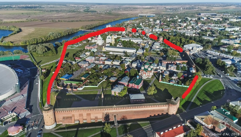Коломенский кремль - несохранившиеся стены и башни