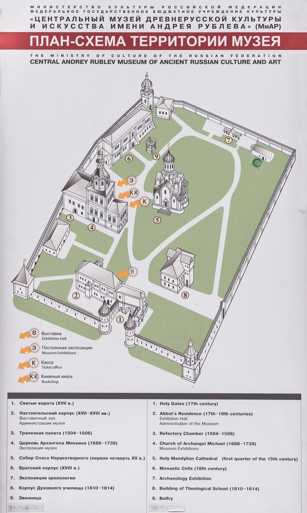 Спасо-Андроников монастырь. План-схема территории.