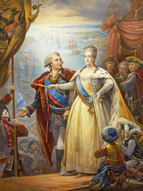 Потемкин и Екатерина II. Севастопольской бухта.