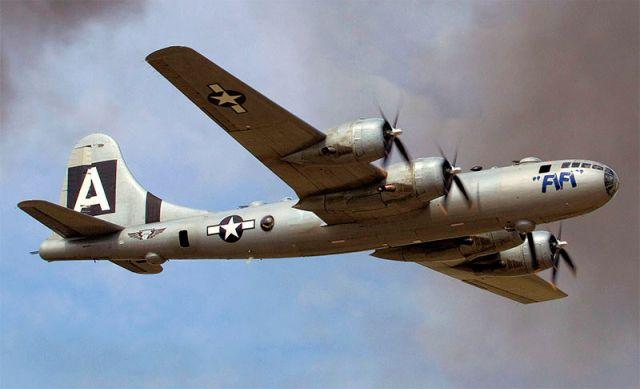 Самолет, на котором навечно отпечаталась зловещая тень атомной бомбардировки Хиросимы и Нагасаки.