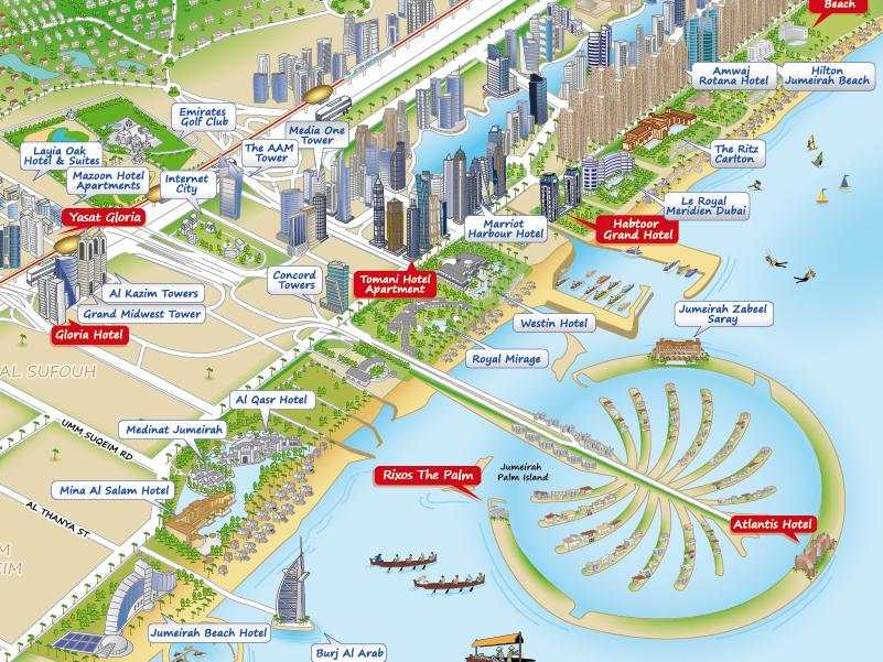 На схеме выше, Dubai Marina