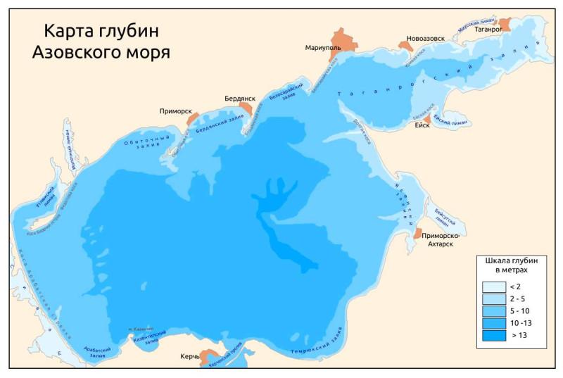 Картта глубин Азовского моря