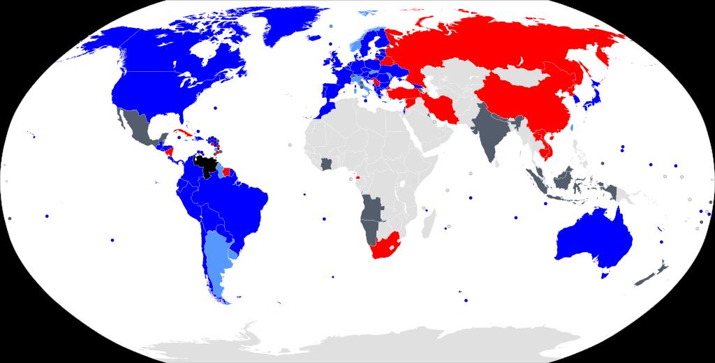 Страны, признающие легитимность президента по состоянию на март 2020 года: черный - Венесуэла / серый - нейтралитет / обесцвеченный-нет поддержки заявления / светло-синий-Национальная ассамблея во главе с Хуаном Гуайдо / темно-синий - признать Гуайдо / красный - признать Мадуро