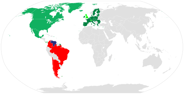 Темно-синий - Венесуэла/ зеленый-страны, которые ввели санкции  /Темно-зеленый-Европейский союз-страны, которые коллективно ввели санкции /Светло-зеленый-не входящие в ЕС европейские страны, которые присоединились к санкциям ЕС  / Красные-страны вводят запрет на въезд для чиновников правительства Мадуро
