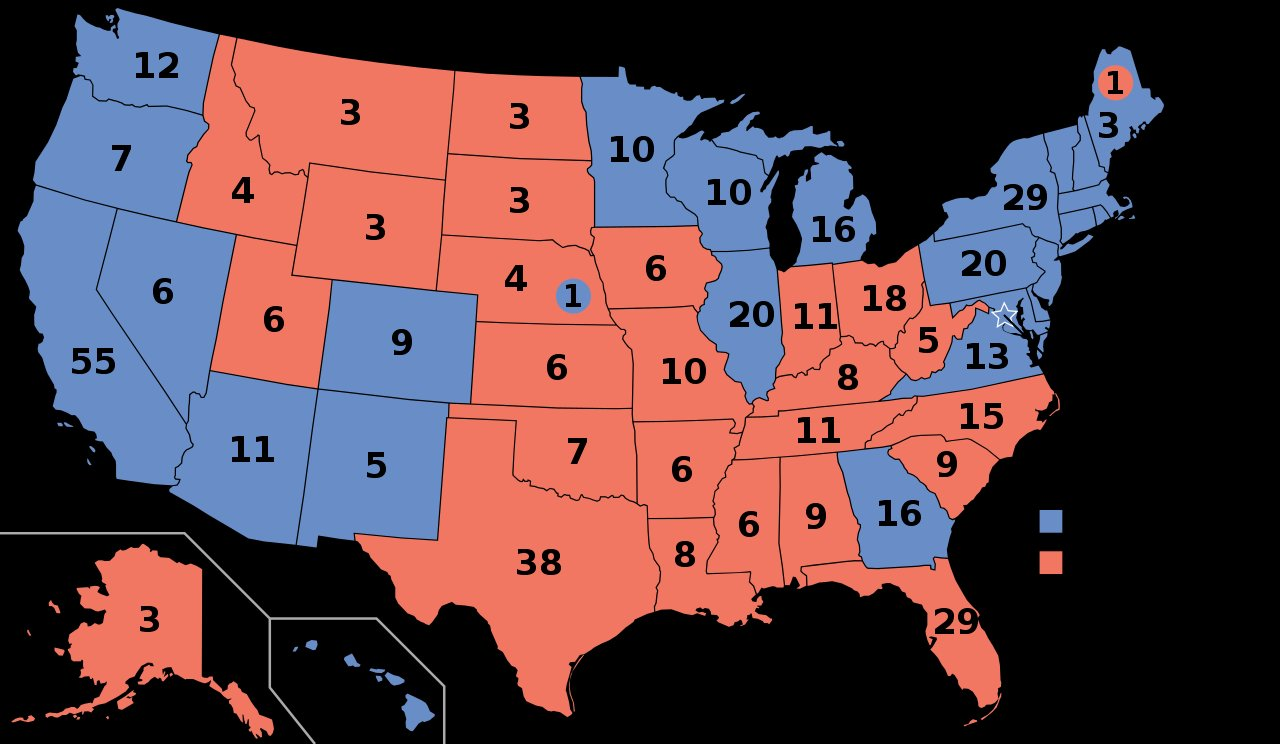 Map of The Electoral College of US Presidential Elections 2021