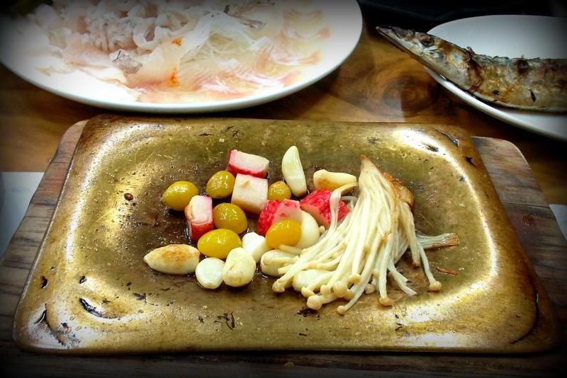 гинкго с грибами, чесноком и крабовыми палочками