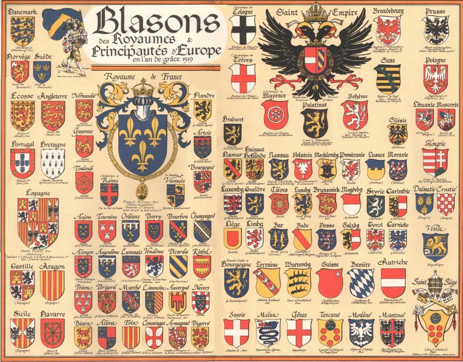 Гербы европейских феодальных образований на 1519 год. Наиболее близки к имперскому орлу семь гербов курфюршеств. 1.jpg