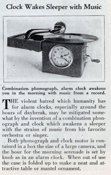 Clock wakes sleeper with music, 1931