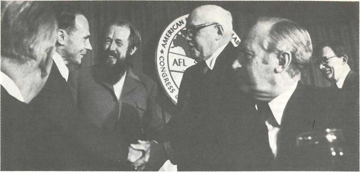 President George Meany greets Simas Kurdirka (1975)